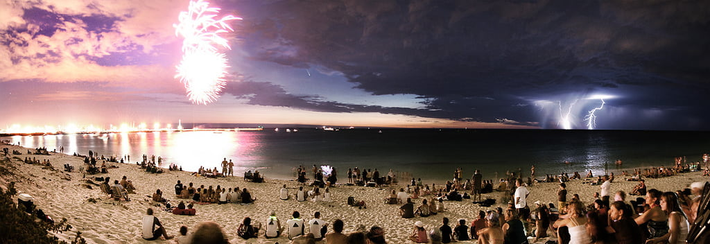 This is Perth Beach on Australia Day - PLEASE, Click it to Enlarge it. It is a GREAT picture.