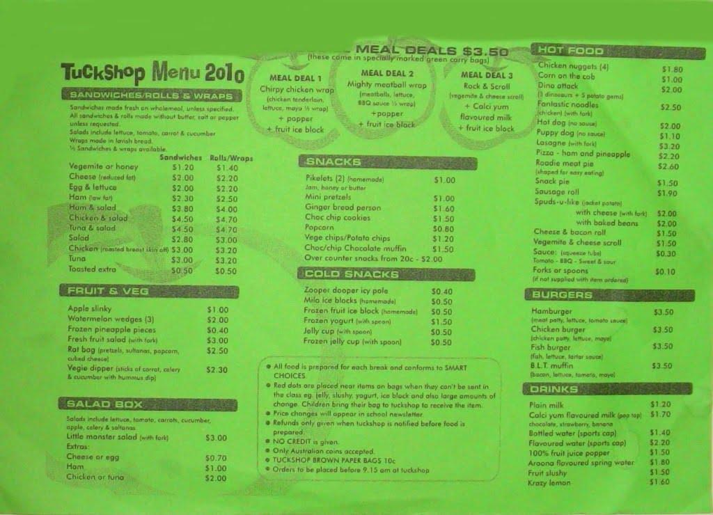 Tuckshop menu