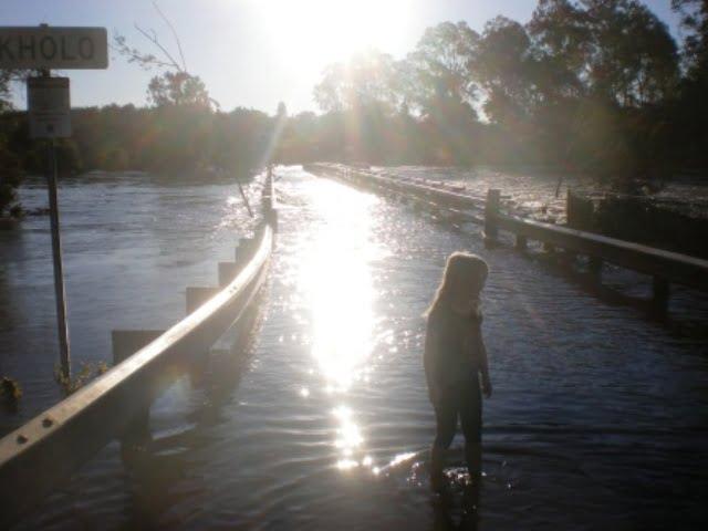 Flooded Bridge over Brisbane River