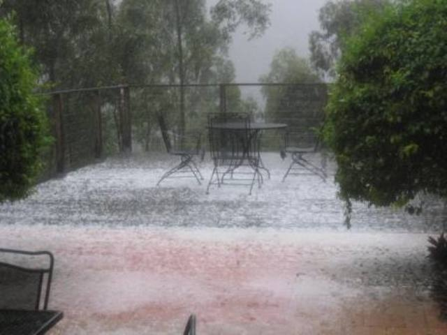 hail on the balcony