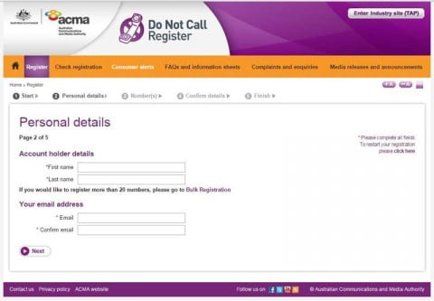 Do Not Call Register details