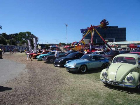 vintage cars and fairground rides