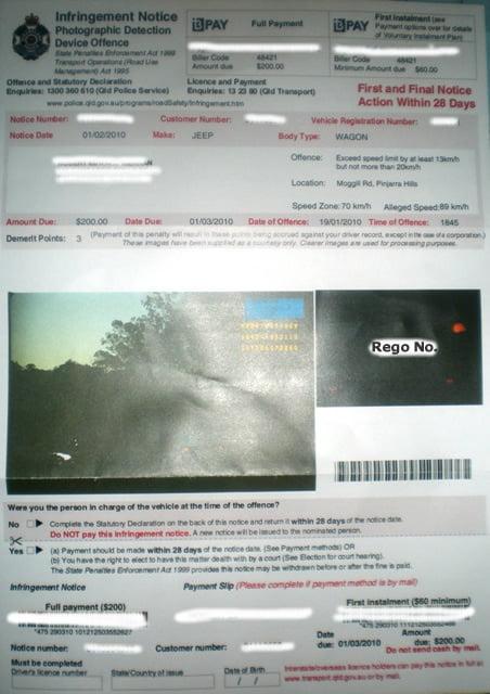 Australian Speeding Ticket