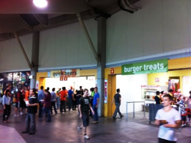 Beer and burgers at the Suncorp Stadium