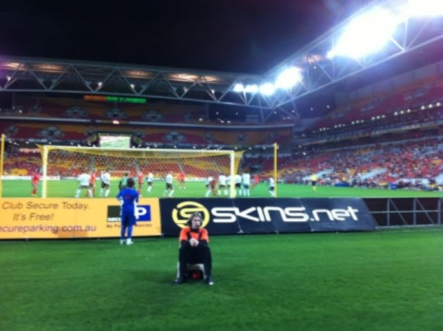 Behind the goal at Suncorp Stadium