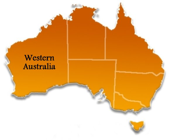 western australia state location map