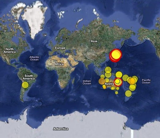 World Eartquakes Map