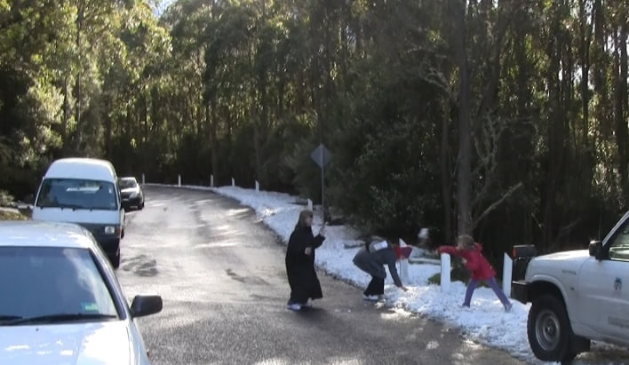 snow fight on Mt wellington