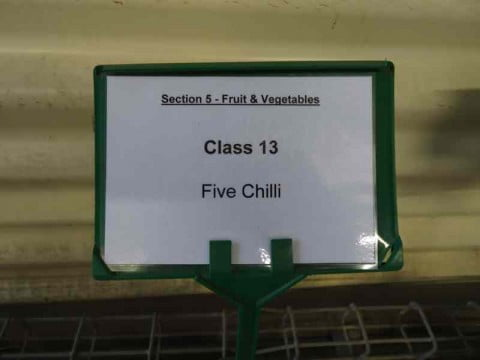 Five chili sign