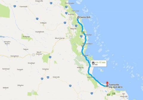 townsville to cairns map