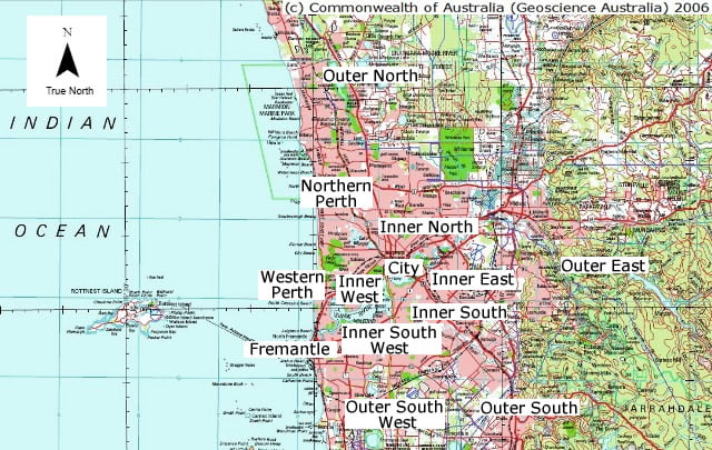 Map of Perth Western Australia